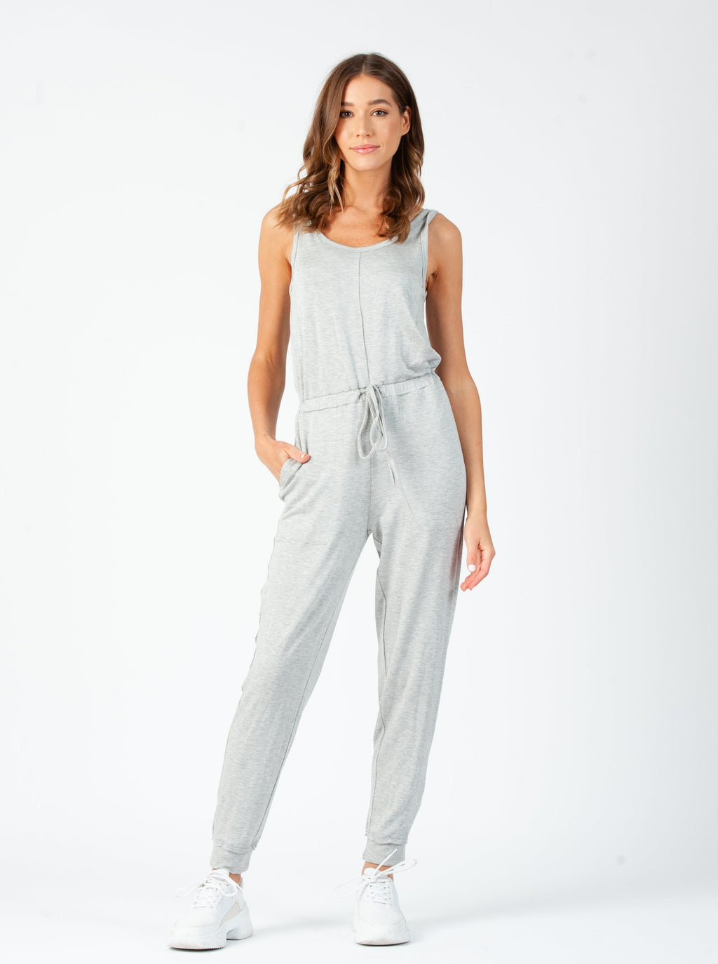 WINSLET RAW EDGE SLEEVELESS JUMPSUIT | HEATHER GREY