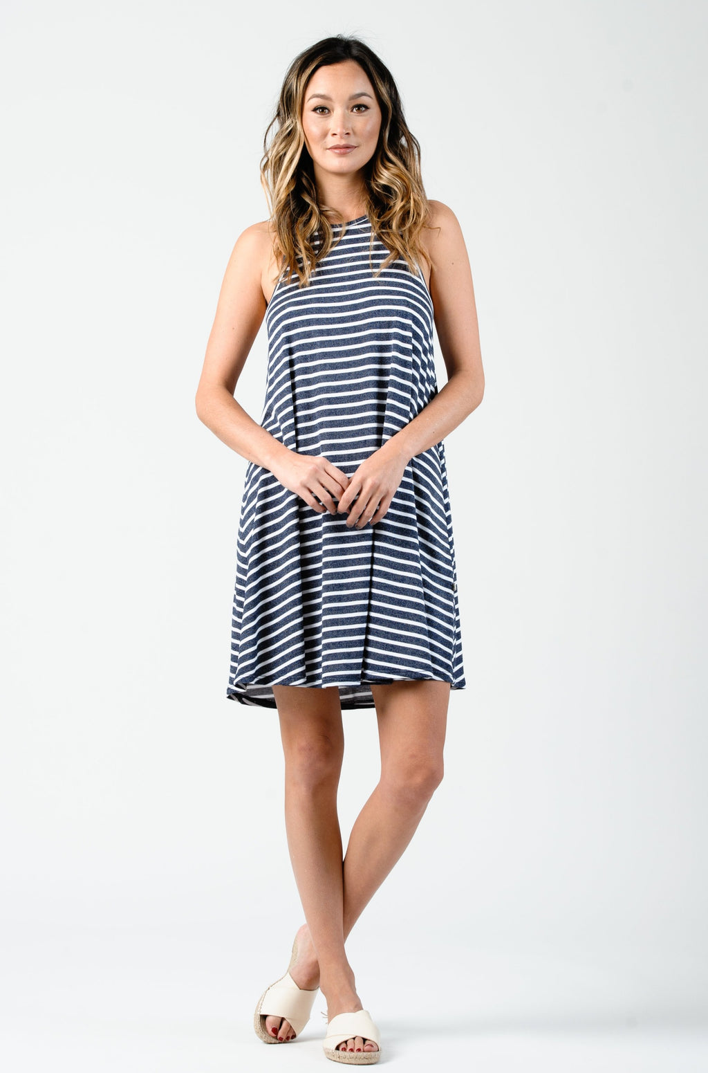 RAY RACER BACK TANK DRESS  | NAVY STRIPE