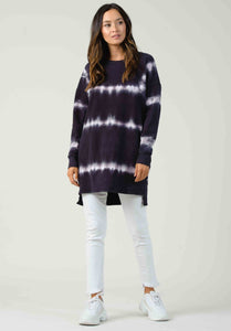COPENHAGEN LONG SWEATSHIRT | NAVY/PURPLE TIE DYE