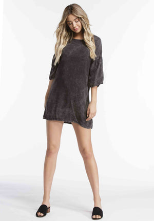 SOPHIE TRUMPET SLEEVE MINI DRESS | BLACK