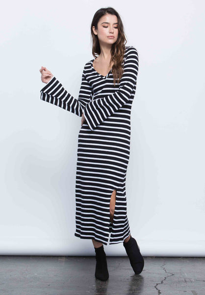 GRACE MIDI SLIT DRESS | BIG NAVY STRIPE