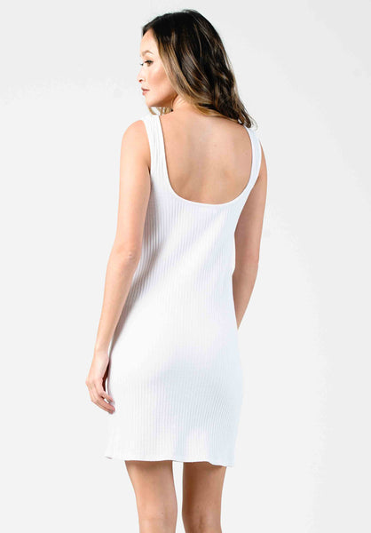 SCOOP NECK MINI DRESS | WHITE