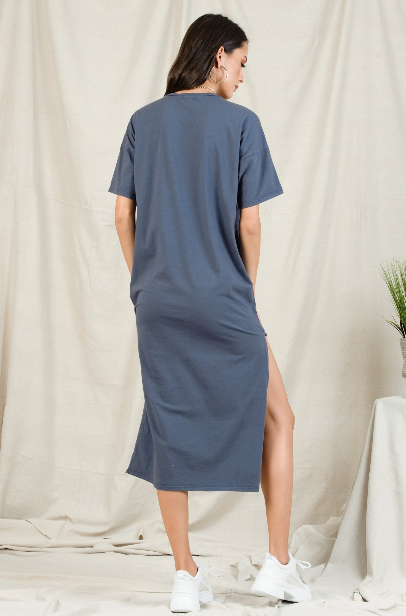TATUM DROP SHOULDER POCKET TEE SHIRT DRESS | BLUE