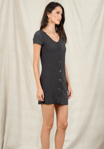 BELLA BUTTON UP MINI DRESS | CHARCOAL