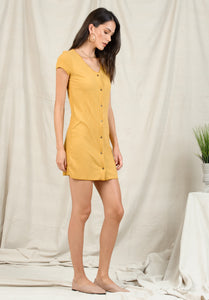 BELLA BUTTON UP MINI DRESS | MUSTARD