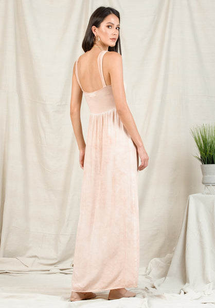 SHAYLA TIE FRONT MAXI DRESS | OIL WASH GRAPEFRUIT