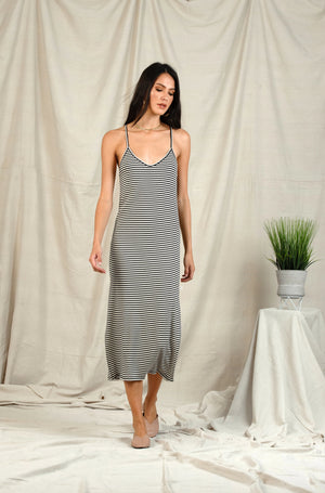LIZZY RACERBACK MAXI DRESS | IVORY/BLACK STRIPE