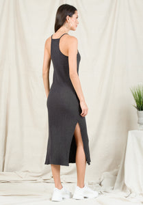 LIZZY RACERBACK MAXI DRESS | CHARCOAL