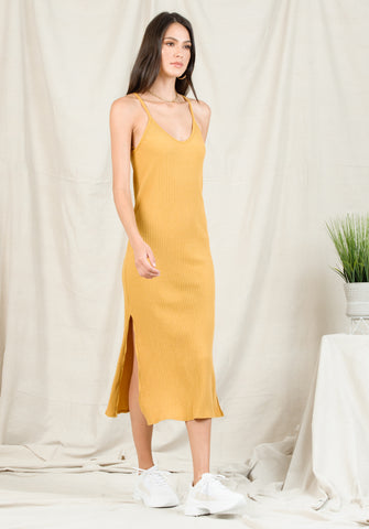 LIZZY RACERBACK MAXI DRESS | MUSTARD