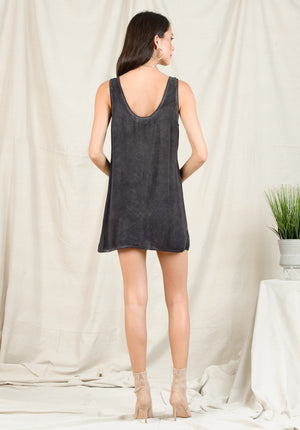 HAILIE TANK DRESS | OIL WASH BLACK