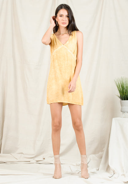 HAILIE TANK DRESS | OIL WASH MUSTARD