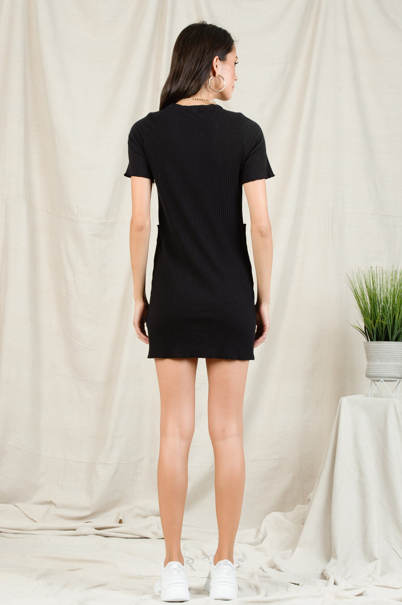 BINX PATCH POCKET MINI DRESS | BLACK