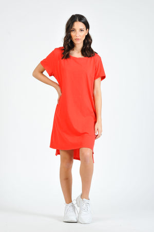 JESSIE TEE CREW NECK S/S DRESS WITH POCKETS | TOMATO