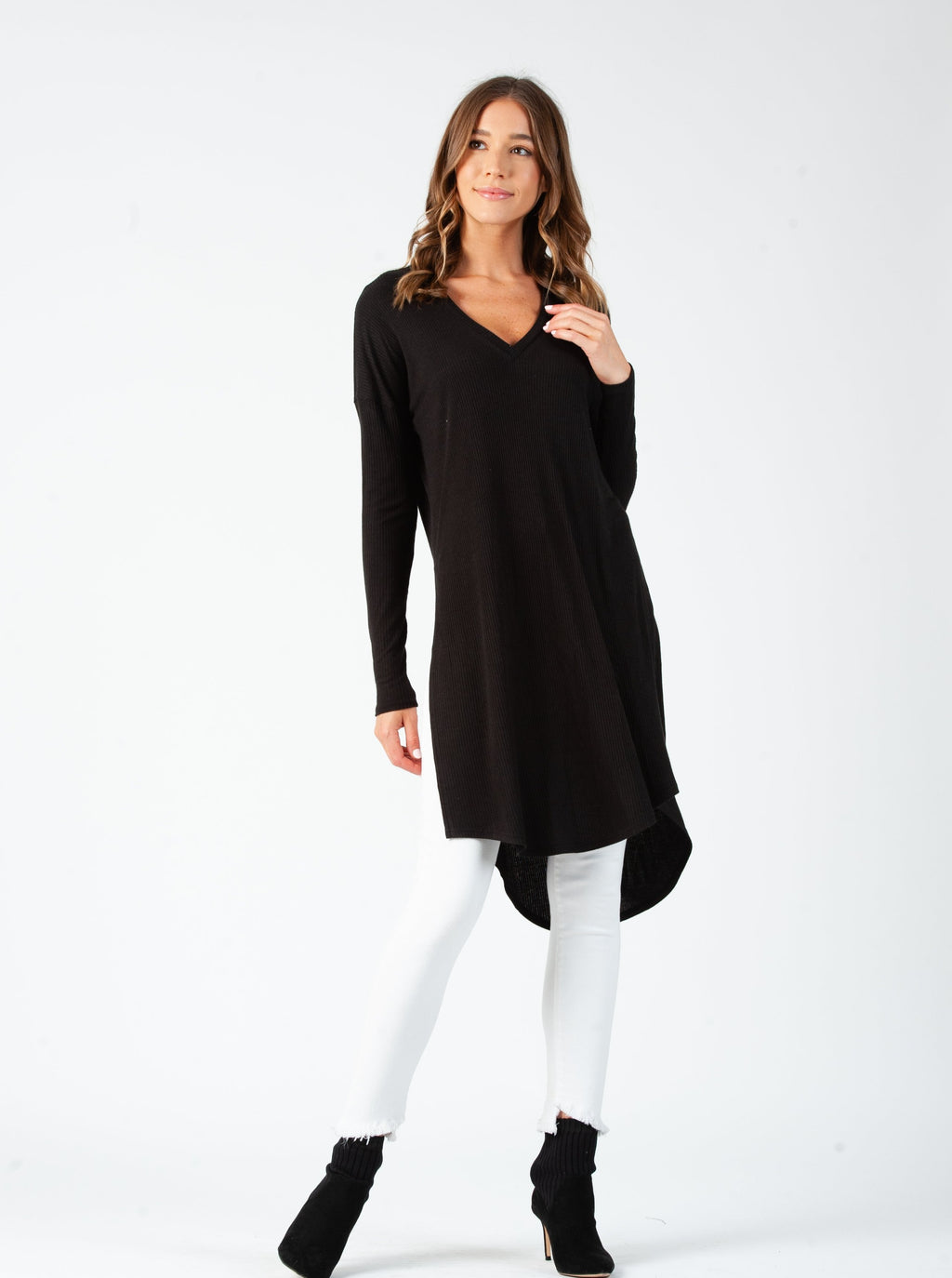 LINDA DROP SHOULDER LONG SLEEVE TUNIC | BLACK