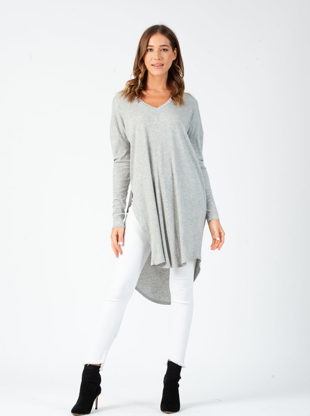 LINDA DROP SHOULDER LONG SLEEVE TUNIC | HEATHER GREY