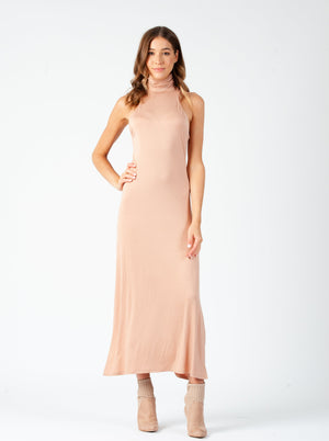 CINDY TURTLE NECK NON SLEEVE MAXI | CLAY