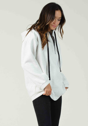 DUBLIN ZIP UP SWEATER | WHITE-GREY
