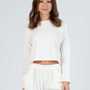 lena crop long sleeve brushed hacci top white