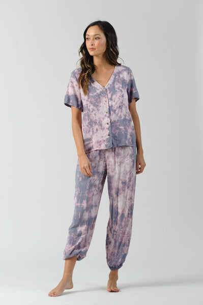 BEE GEES SHORT SLEEVE BUTTON UP TOP | GRAPE