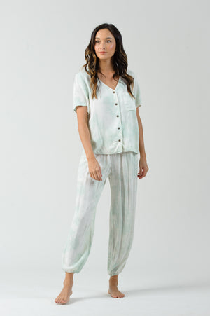 BEE GEES SHORT SLEEVE BUTTON UP TOP | SEAFOAM
