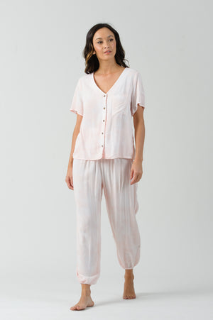 BEE GEES SHORT SLEEVE BUTTON UP TOP | STRAWBERRY MILK