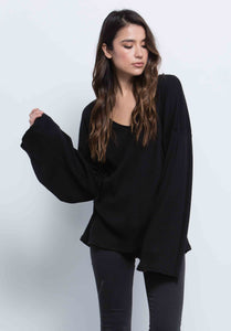 KYLE FLARE MINI RUFFLE TOP | BLACK