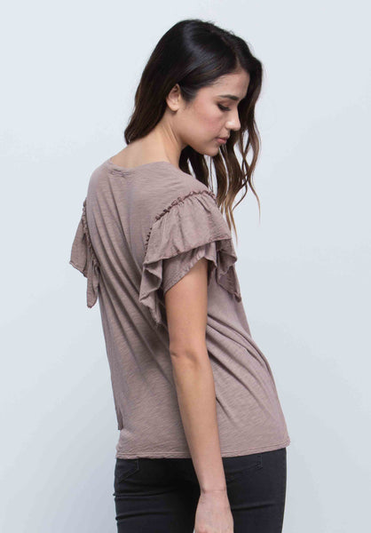 GABRIELLE RUFFLE SLEEVE TOP | TAUPE