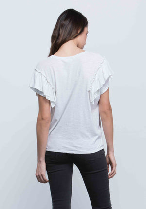 GABRIELLE RUFFLE SLEEVE TOP | OFF WHITE