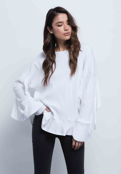 DORIT RUFFLE FIN TOP | WHITE