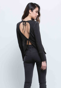BRYNN DOUBLE TIE-BACK TOP |  OIL WASH BLACK