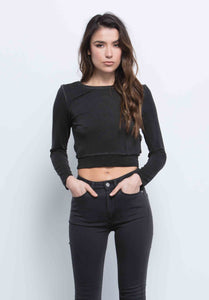 JOANNA OPEN BACK CROP TOP | BLACK