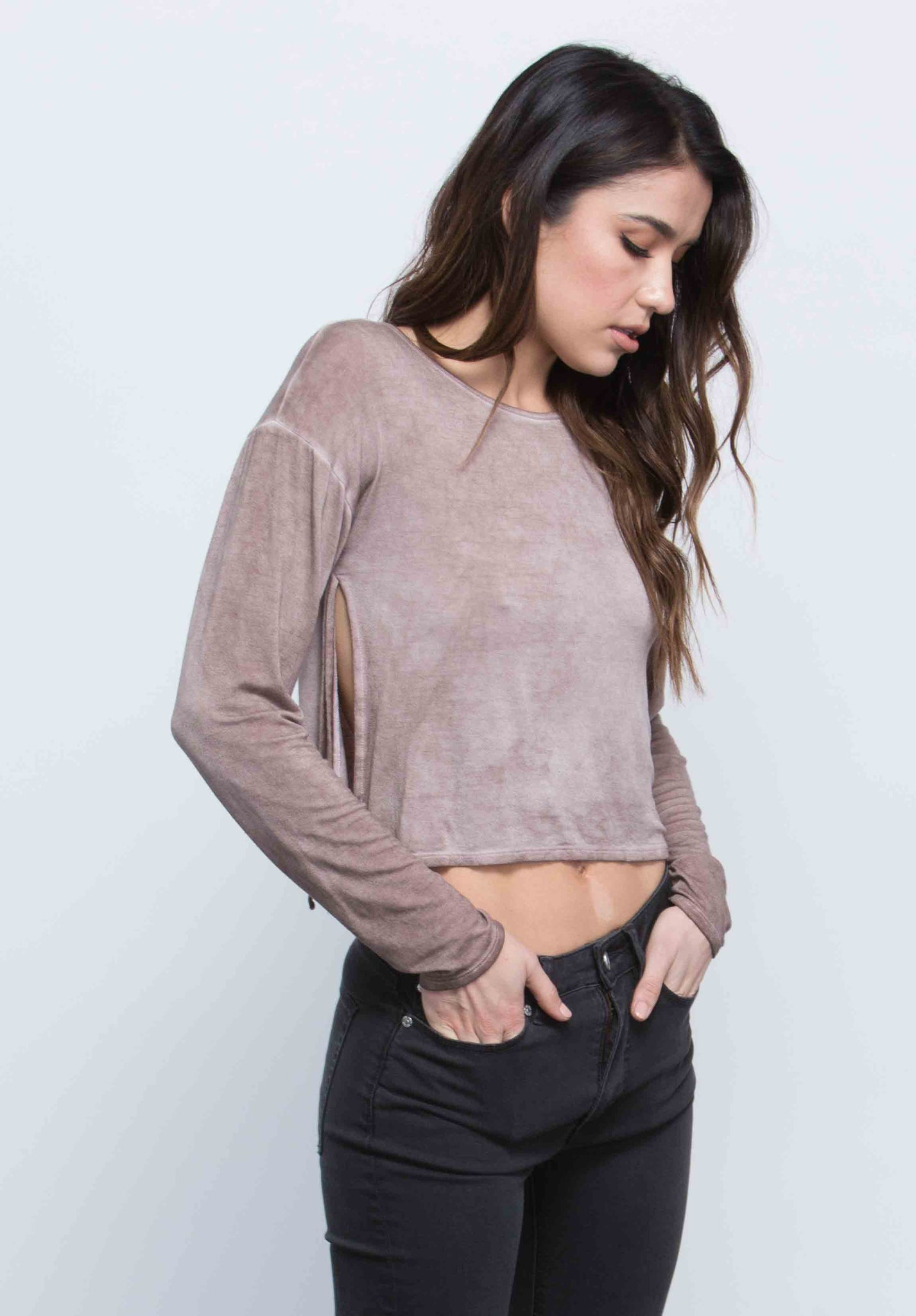 ELLIANA SIDE-TIE TOP | OIL WASH TAUPE
