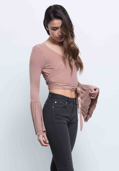 LUCY WRAP CROP TOP | RUST