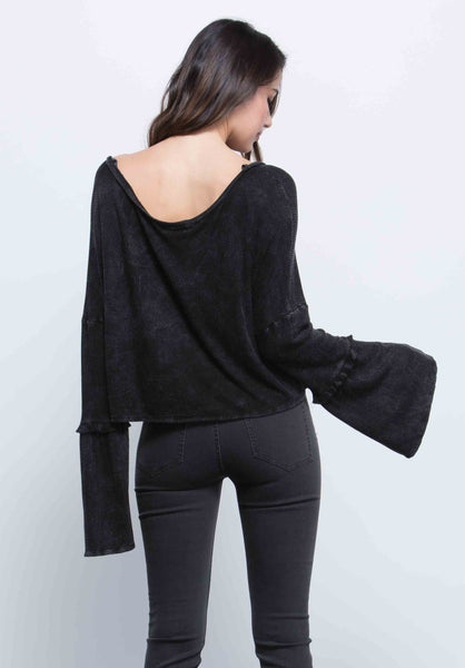LAUREN MINI RUFFLE SLEEVE TOP | BLACK
