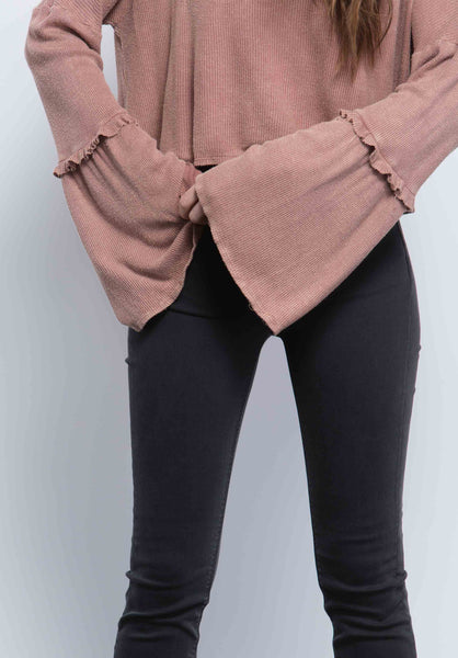 LAUREN MINI RUFFLE SLEEVE TOP | TAUPE