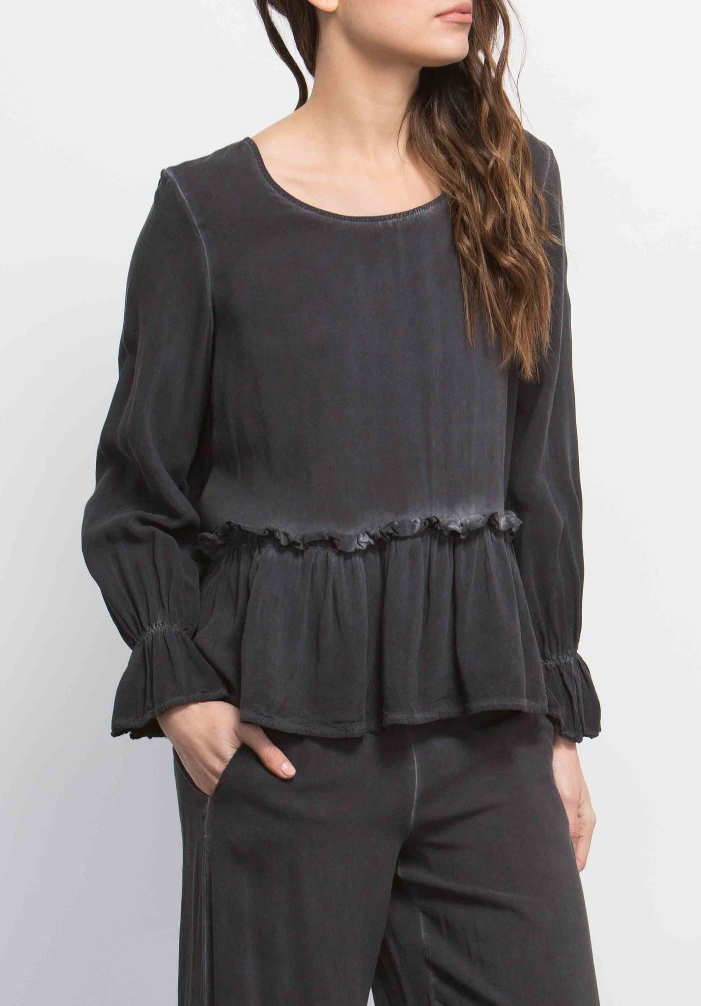 ELLA POET PEPLUM TOP | OIL WASH BLACK