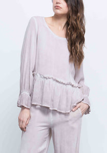 ELLA POET PEPLUM TOP | OIL WASH TAUPE