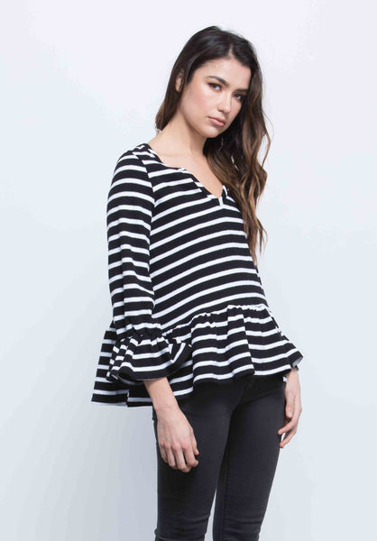 LISA TRUMPET PEPLUM TOP | BIG NAVY STRIPE