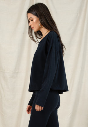SUZANNE DROP SHOULDER TOP | NAVY