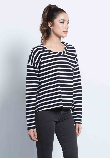 SUZANNE DROP SHOULDER TOP | BIG NAVY STRIPE