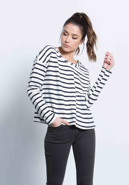 SUZANNE DROP SHOULDER TOP | LIL NAVY STRIPE