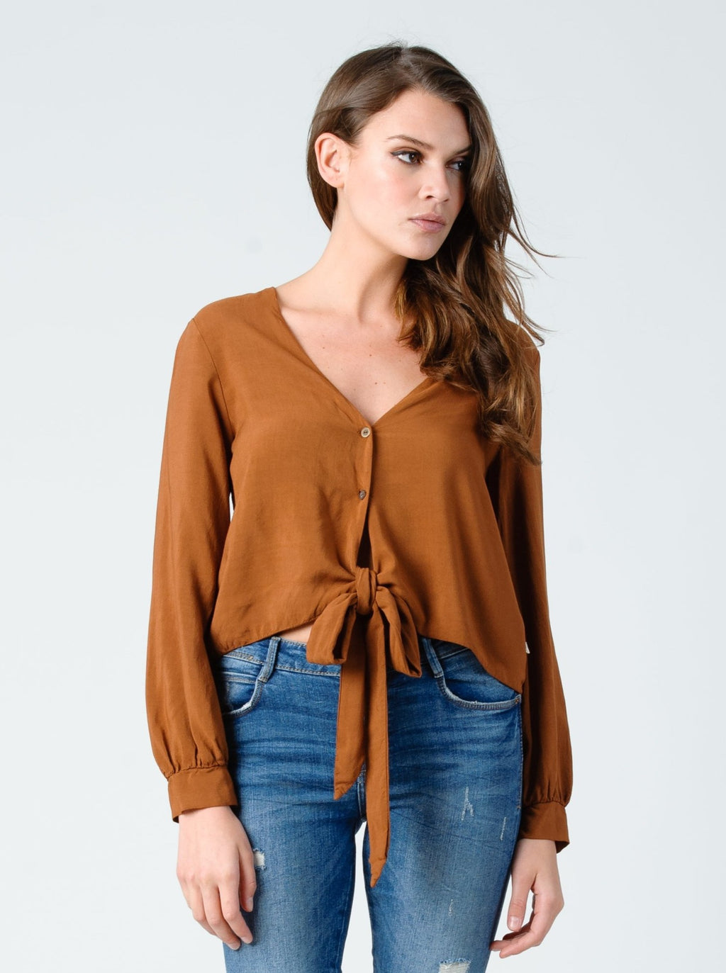 SABRINA long sleeve button up top in relic bronze