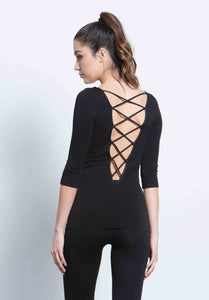 JAMIE LOW CRISS CROSS BACK TOP | BLACK