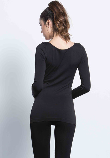 CASTER SCOOP NECK TOP | BLACK
