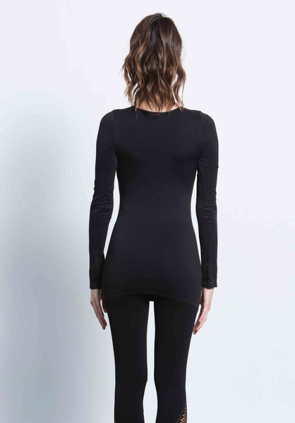 ELANA CREW NECK TOP | BLACK