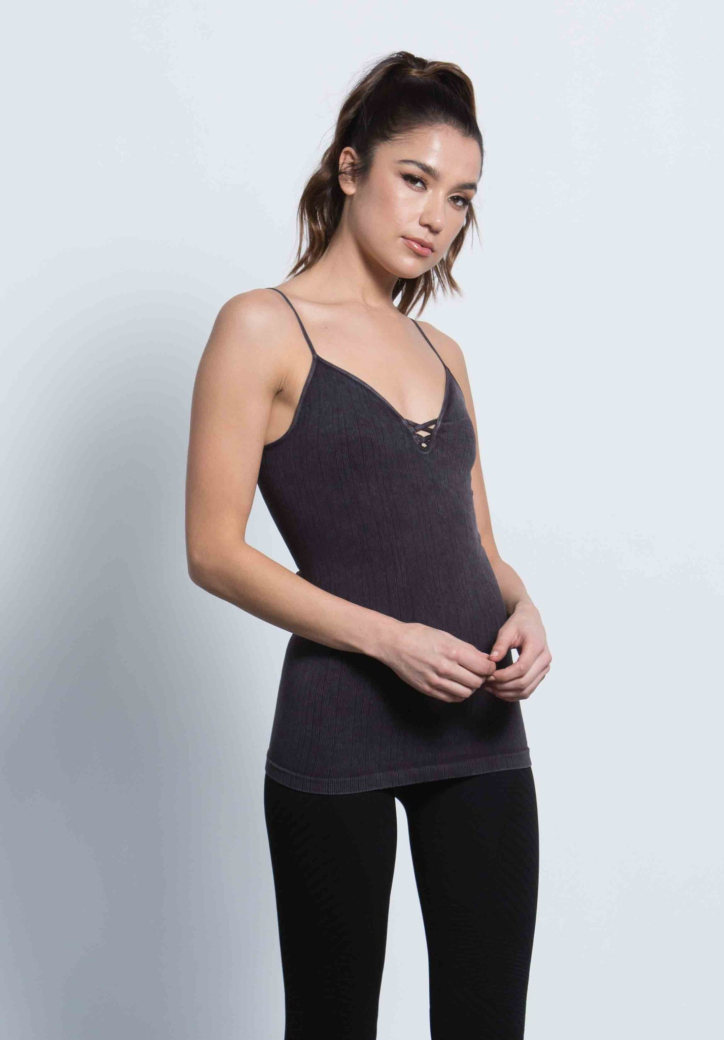 GABBY MINI CRISS CROSS CAMI | GUNMETAL