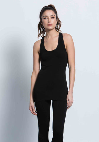 SIMONE RACERBACK SCOOP TANK | BLACK