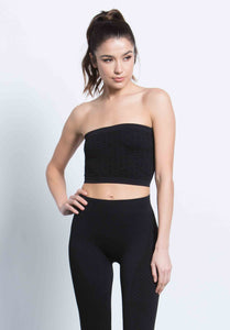 MIKAELA CRINKLE TUBE TOP | BLACK