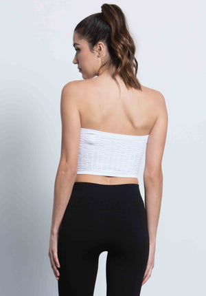 MIKAELA CRINKLE TUBE TOP | WHITE
