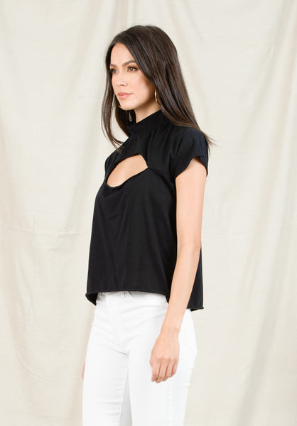 GEORGIA SLIT CHEST TOP | BLACK